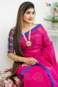 New Pure Cotton Chumki Hot Pink with Blue Saree With Blouse Piece