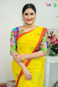 New Pure Cotton Chumki Yellow with Red Saree With Blouse Piece