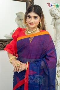 New Pure Cotton Chumki Navy Blue Ganga-Jamuna Saree With Blouse Piece