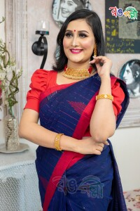 New Pure Cotton Chumki Navy Blue with Red Saree With Blouse Piece
