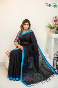 New Pure Cotton Chumki Black with Feroza Saree With Blouse Piece