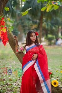 Half Silk Red Chumki Saree With Blouse