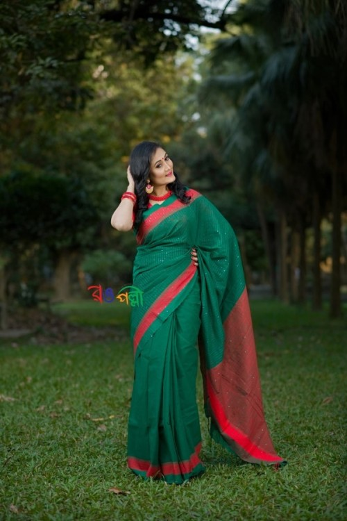 Half Silk Green Red Chumki Saree With Blouse Piece