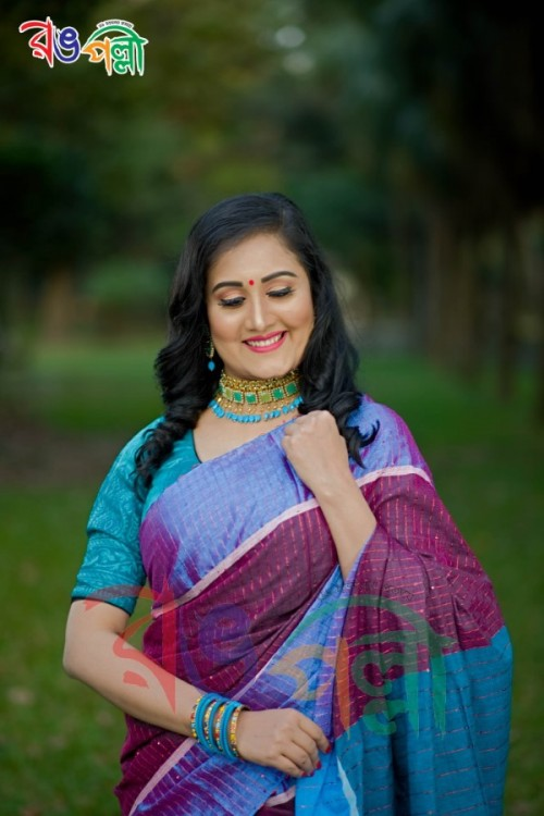 Chumki Half Silk Berry Sky Chumki Saree With Blouse Piece