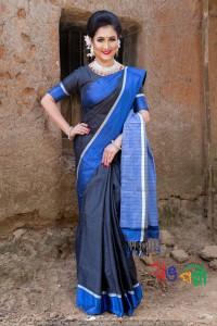 Halfsilk Black Blue Chumki Saree With Blouse Piece