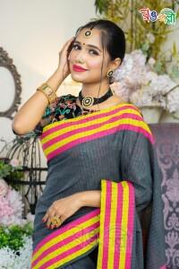 Deep Ash with Yellow Pink Multi Chumki Saree With Blouse Piece