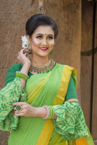 Yellow Ganga-Jamuna Chumki Saree With Blouse Piece