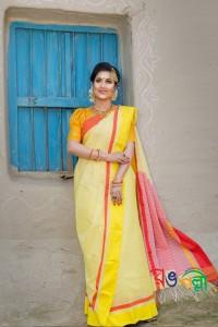 Yellow Orange Yellow Chumki Saree With Blouse Piece
