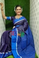 Half Silk Navy Blue Chumki Saree With Blouse