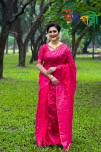 Halfsilk Hot Pink Jamdani Saree