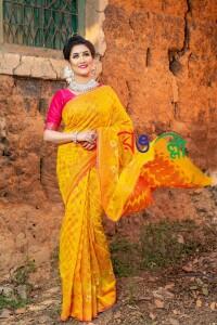 Halfsilk Yellow-Pink Jamdani Saree