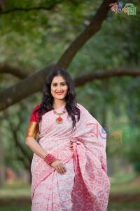 Halfsilk White-Red Jamdani Saree