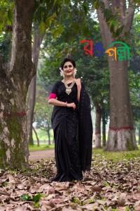 New Halfsilk Black Rose Jamdani