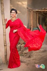 New Halfsilk Jamdani Red With Golden Leaf Color Saree