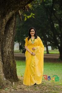 New Halfsilk Jamdani Yellow 7 Star Color Saree