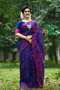 Half Silk Jamdani Saree - Navy Blue with Pink Leaf Color Saree