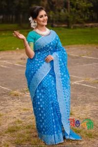 New Halfsilk jamdani Sky Blue White Jamdani Color Saree