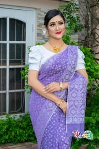 Half Silk Purple Jamdani Saree