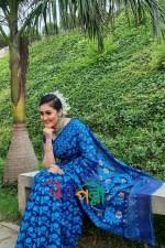Special Half Silk Jamdani Blue Feroza Golden Saree With Blouse Piece