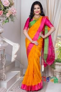 Half Silk Yellow Ganga Jamuna Saree With Blouse Piece