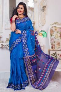 Half Silk Feroza Navy Blue Box Paar Saree With Blouse Piece