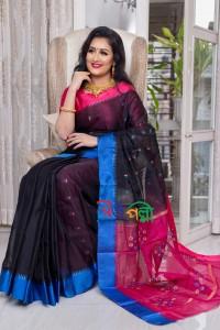 Half Silk Black Tripple Paar Saree With Blouse Piece
