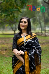 Black with Dark Yellow Color Maslice Cotton Kotki Saree With Blouse Piece
