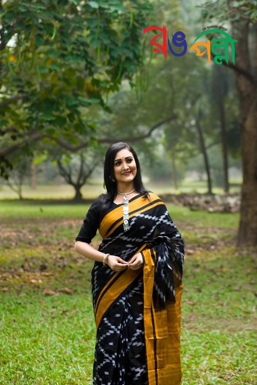 Black with Dark Yellow Color Maslice Cotton Kotki Saree With Blouse Piece