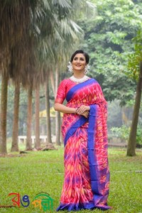Hot Pink With Blue Color Half Silk Kotki Saree With Blouse Piece