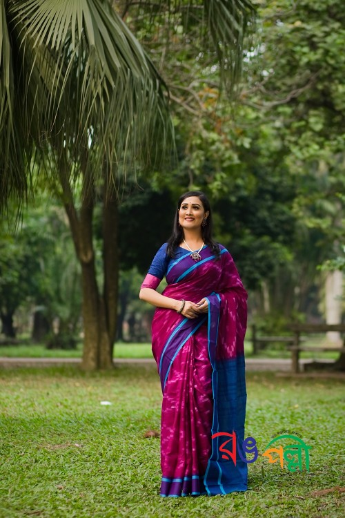 Berry With Navy Blue Color Maslice Cotton Kotki Saree With Blouse Piece