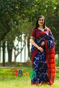 Navy Blue With Merun Color Maslice Cotton Kotki Saree With Blouse Piece