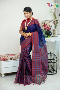 Maslice Check Perrot With Merun Color Saree With Blouse Piece