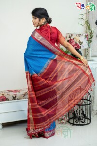 Maslice Check Sky Blue with Merun Color Saree With Blouse Piece