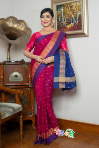 New Maslice Cotton Berry With Blue and Red Aampaar Saree With Blouse Piece