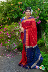 New Maslice Cotton Red With Blue and Red Aampaar Saree With Blouse Piece