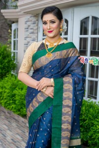 New Maslice Cotton Navy Blue and Golden with Green Aampaar Saree With Blouse Piece