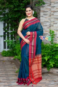 New Maslice Cotton Ball Paar Sea Green Saree With Blouse Piece