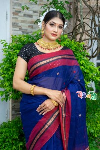 New Maslice Cotton Ball Paar Navy Blue Saree With Blouse Piece