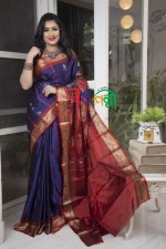 Silk  Saree Navy-Blue With Red Color With Blouse Piece