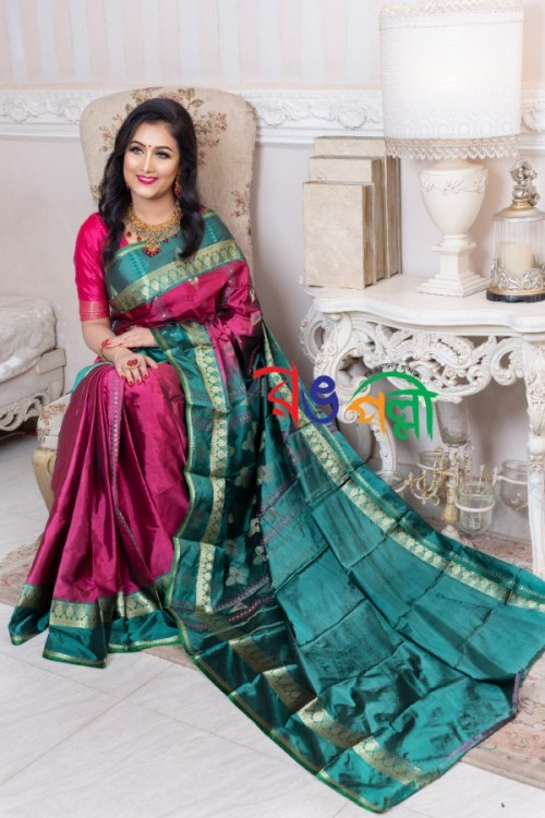 Silk Saree Hot Pink and Green With Blouse Piece