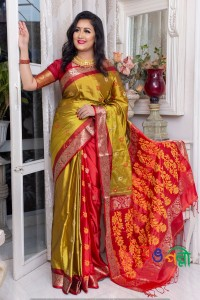 Silk Olive With Red Saree With Blouse Piece