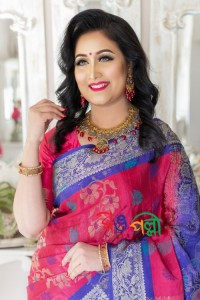 Silk Saree Mejenta With Blue Paar With Blouse Piece