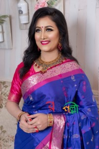 Blue With Pink Silk Saree With Blouse Piece