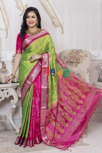 Parrot With Pink Silk Saree With Blouse Piece