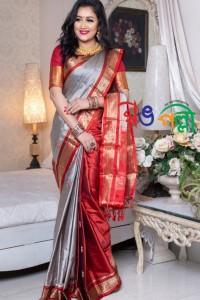 Ash Maroon Par Saree With Blouse Piece