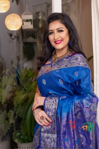 Deep Firoza Nevy Blue Par Silk Saree With Blouse Piece