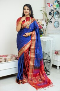 Nevy Blue and Red Silk Saree With Blouse Piece