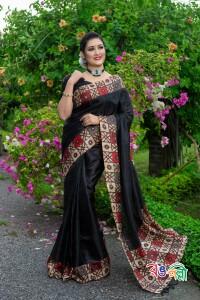 Rajshahi Andy Silk Black Color Saree With Blouse Piece