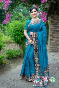 Rajshahi Andy Silk Pest Color Saree With Blouse Piece